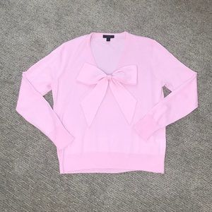 J Crew pink bow sweater size S